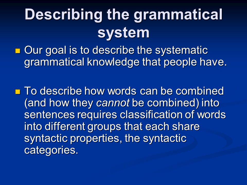Describing the grammatical system