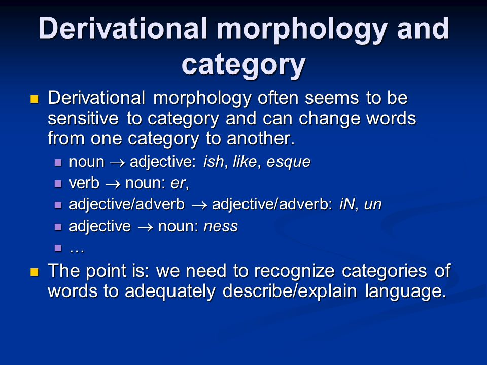 Derivational morphology and category
