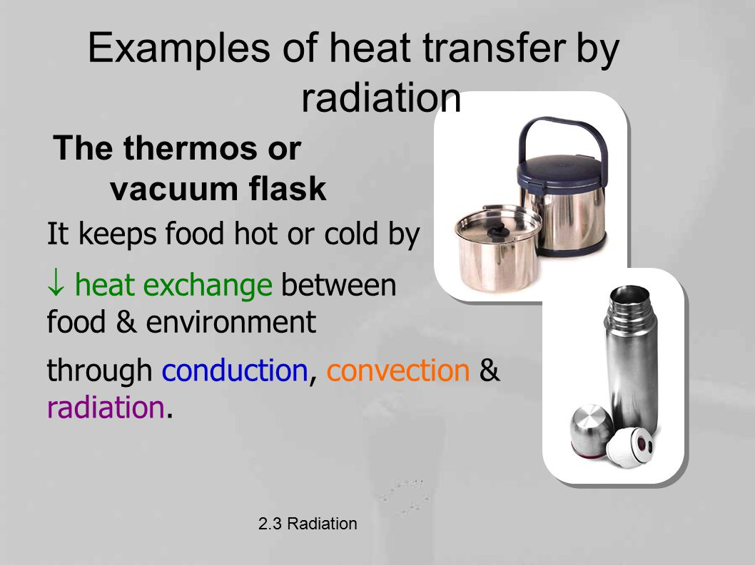Examples of heat transfer by radiation