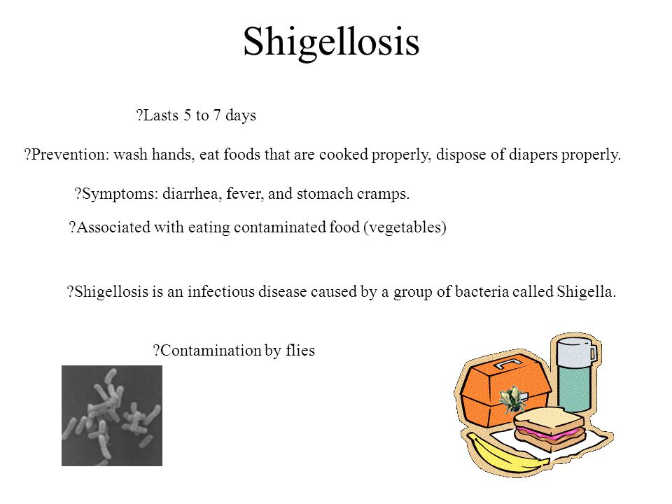 Shigellosis Lasts 5 to 7 days