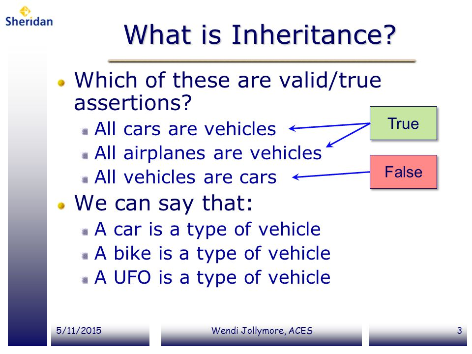 What is Inheritance Which of these are valid/true assertions