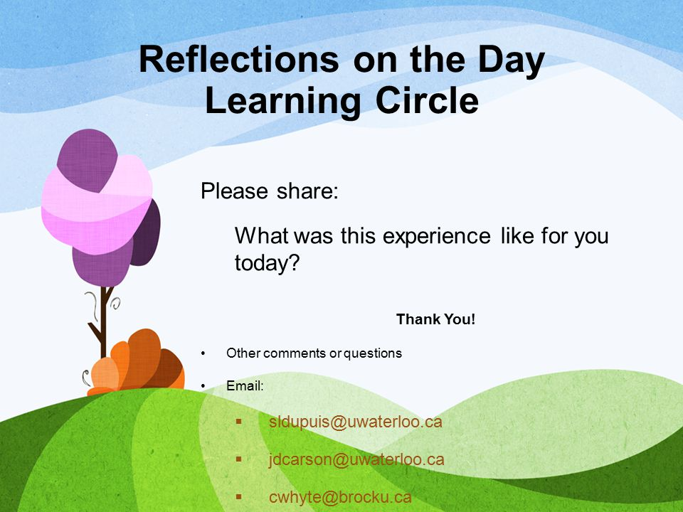 Reflections on the Day Learning Circle