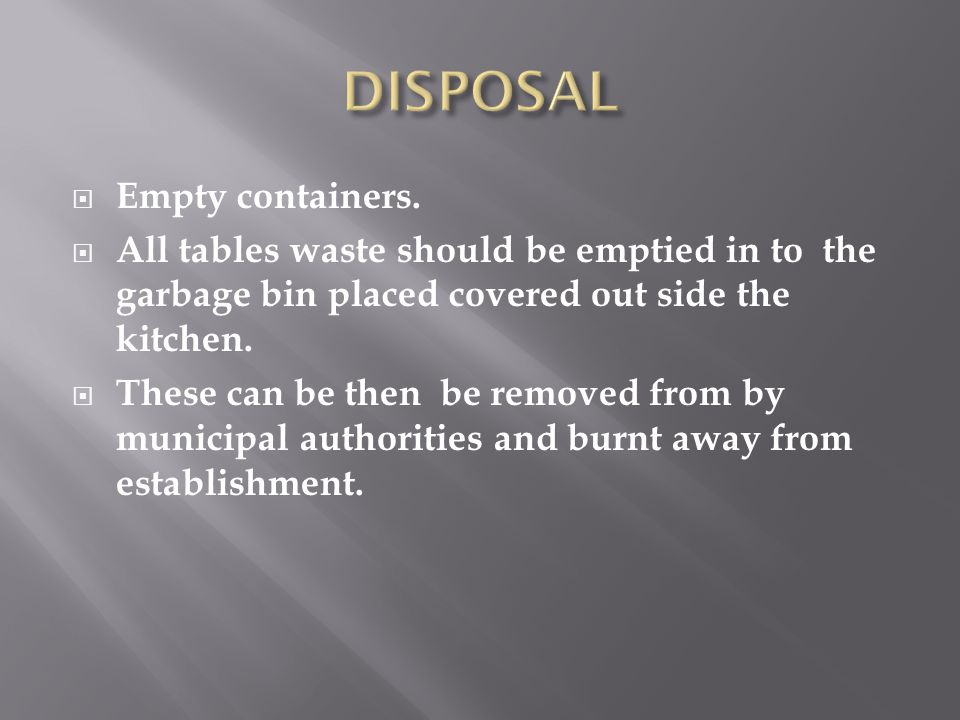 DISPOSAL Empty containers.