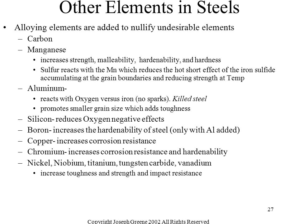 Other Elements in Steels