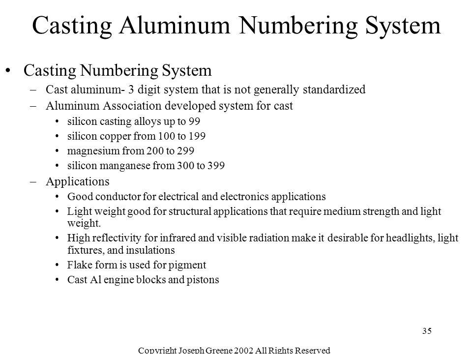 Casting Aluminum Numbering System