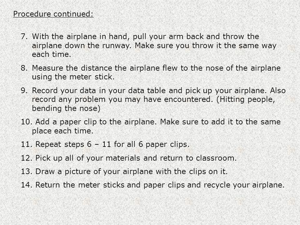 Procedure continued: