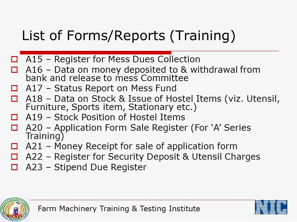 List of Forms/Reports (Training)