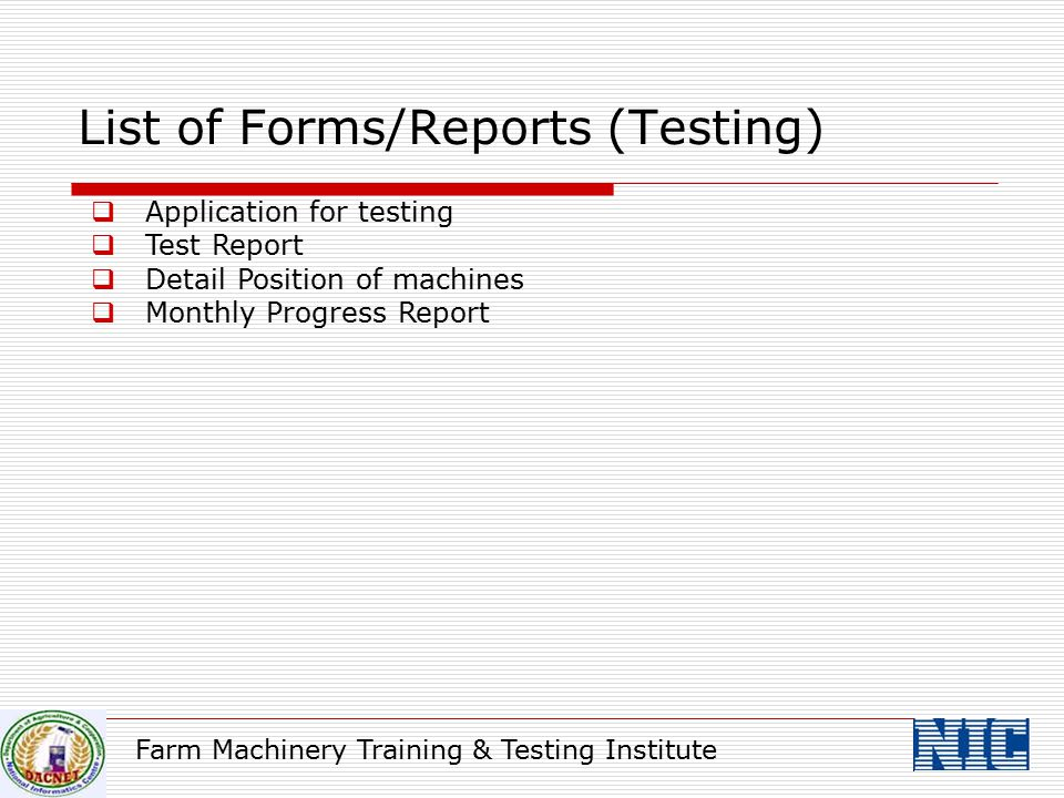 List of Forms/Reports (Testing)