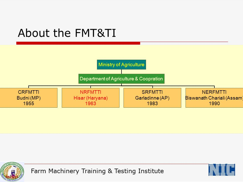 About the FMT&TI Farm Machinery Training & Testing Institute