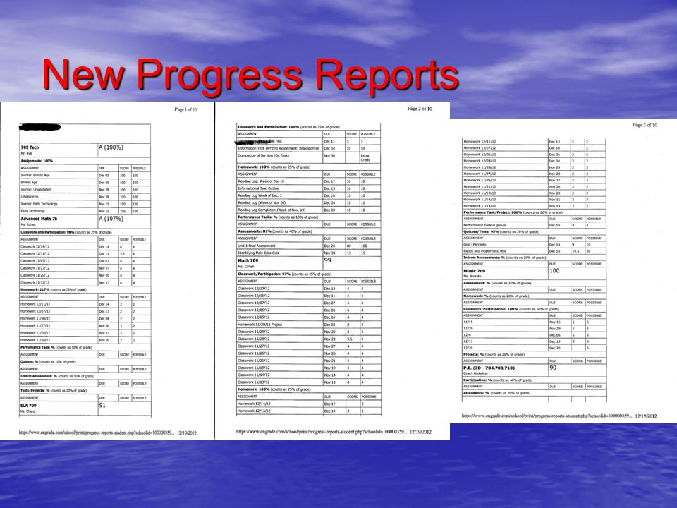 New Progress Reports