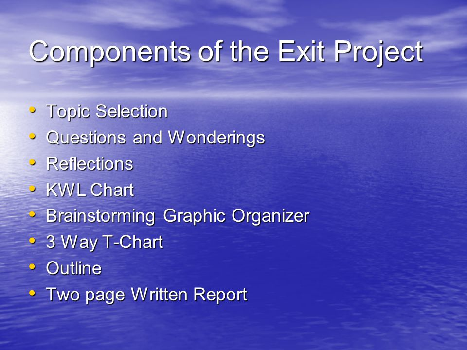 Components of the Exit Project