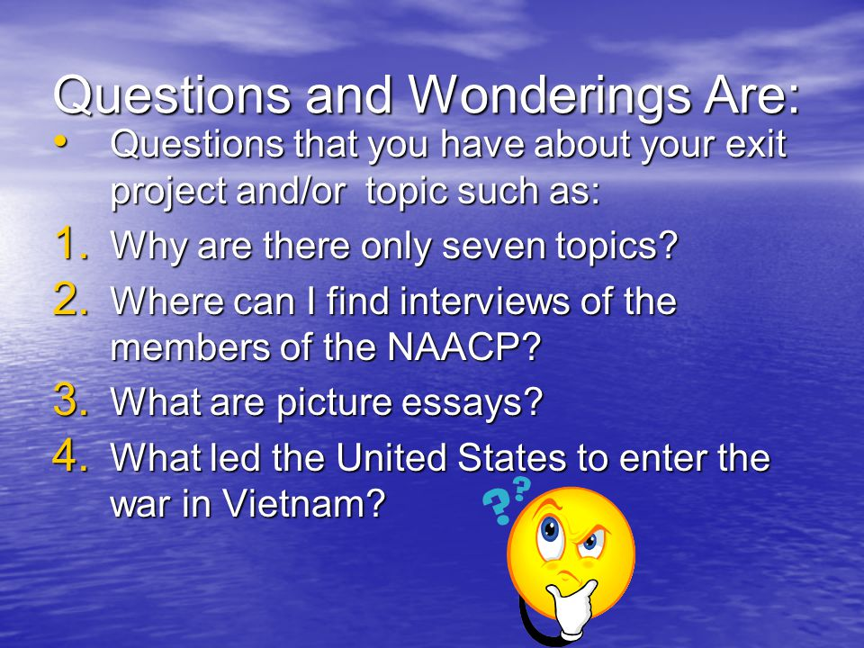 Questions and Wonderings Are: