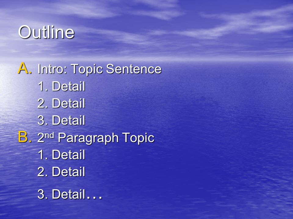Outline Intro: Topic Sentence 1. Detail 2. Detail 3. Detail