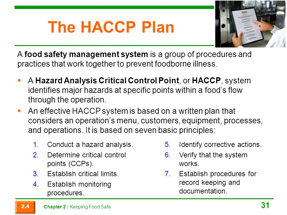 The HACCP Plan A food safety management system is a group of procedures and practices that work together to prevent foodborne illness.