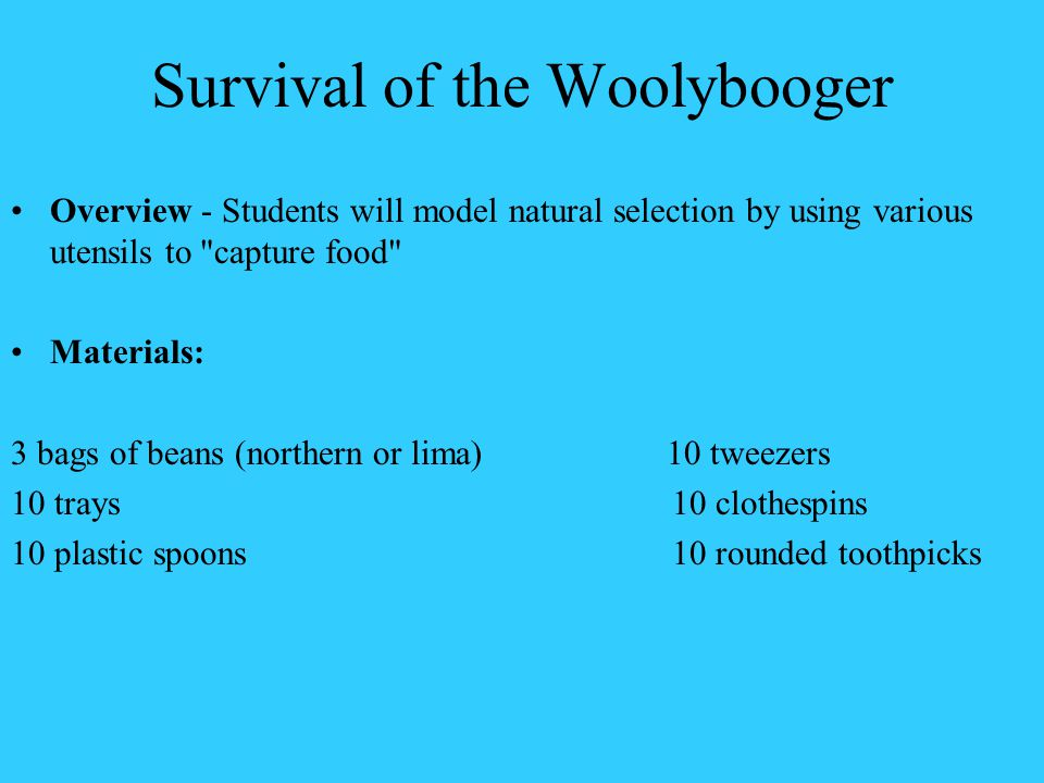 Survival of the Woolybooger