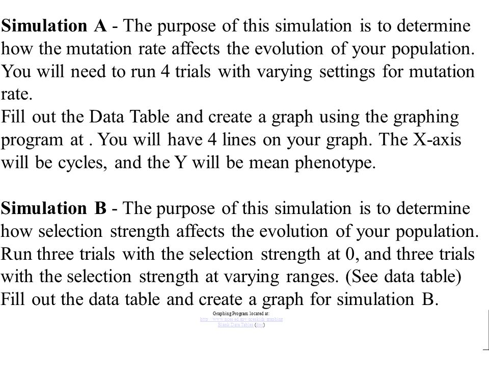 Fill out the data table and create a graph for simulation B.