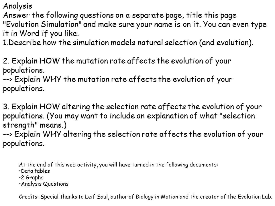 Describe how the simulation models natural selection (and evolution).