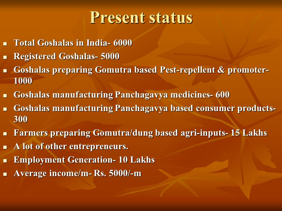 Present status Total Goshalas in India- 6000 Registered Goshalas- 5000