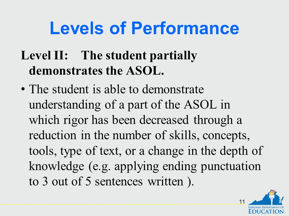 Levels of Performance Level II: The student partially demonstrates the ASOL.