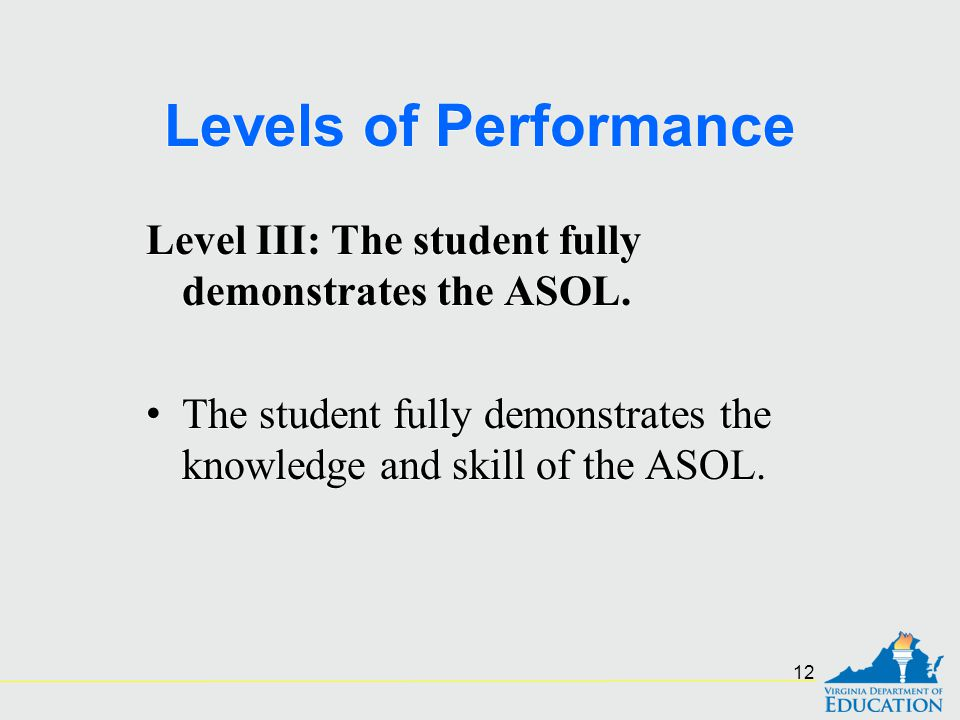 Levels of Performance Level III: The student fully demonstrates the ASOL.