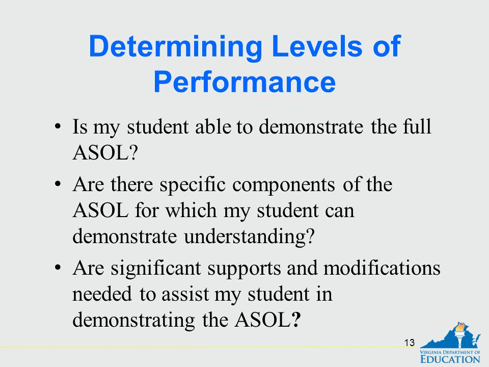 Determining Levels of Performance