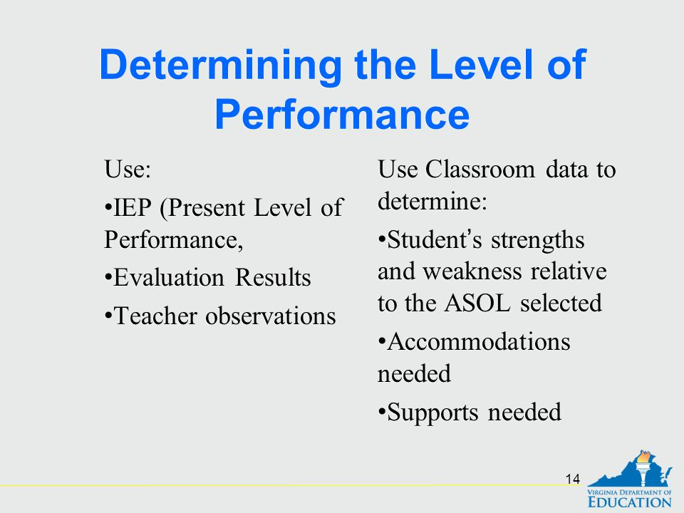 Determining the Level of Performance