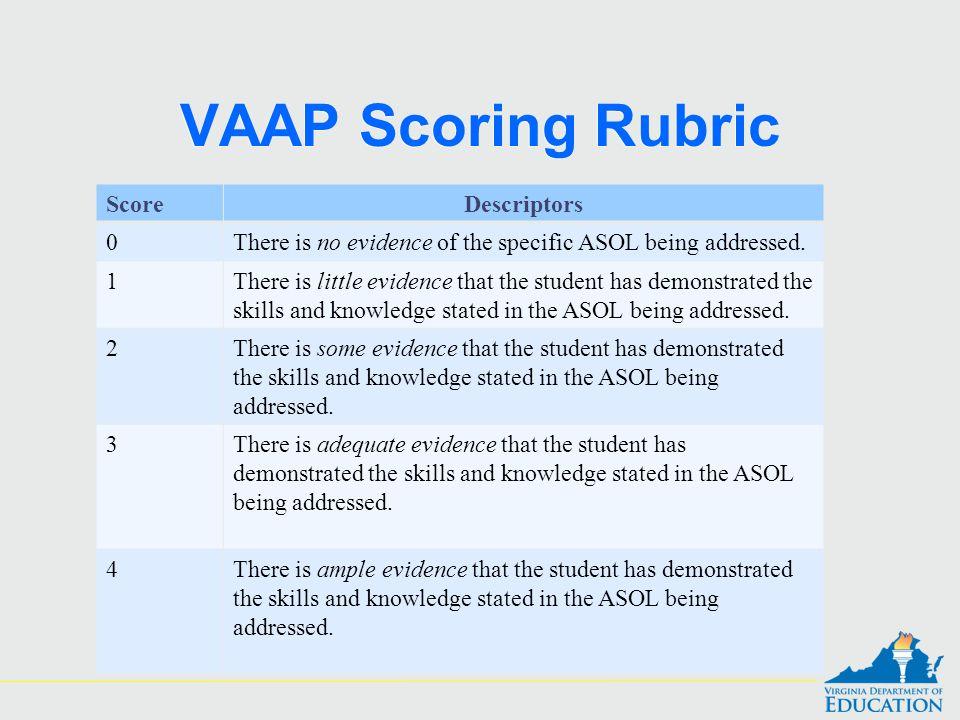VAAP Scoring Rubric Score Descriptors