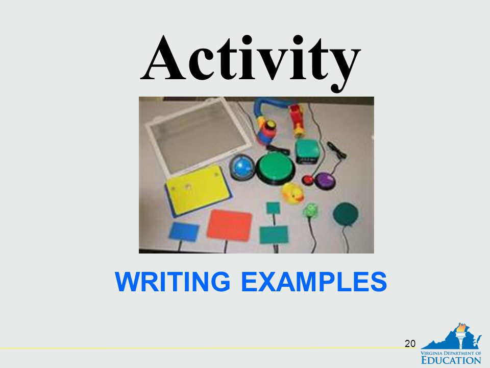 Activity WRITING EXAMPLES
