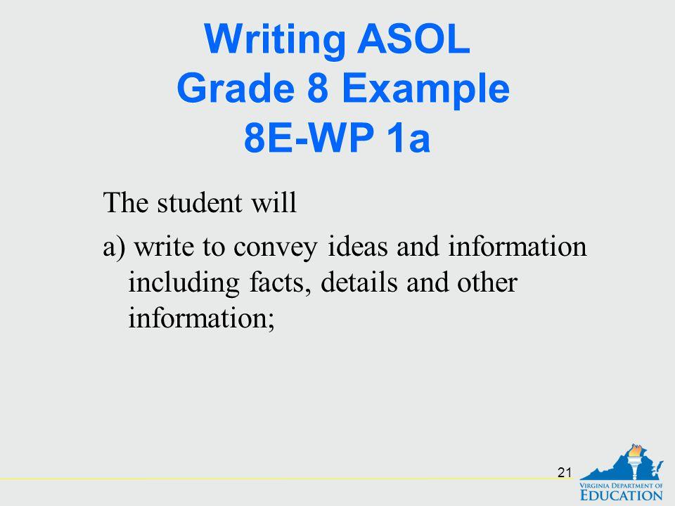 Writing ASOL Grade 8 Example 8E-WP 1a