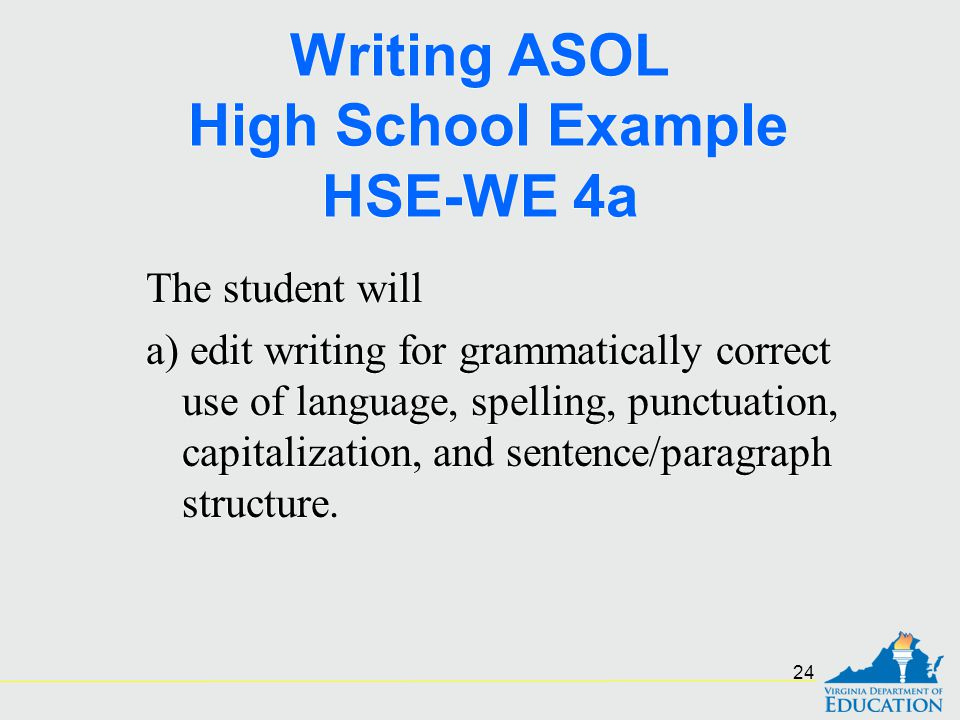 Writing ASOL High School Example HSE-WE 4a