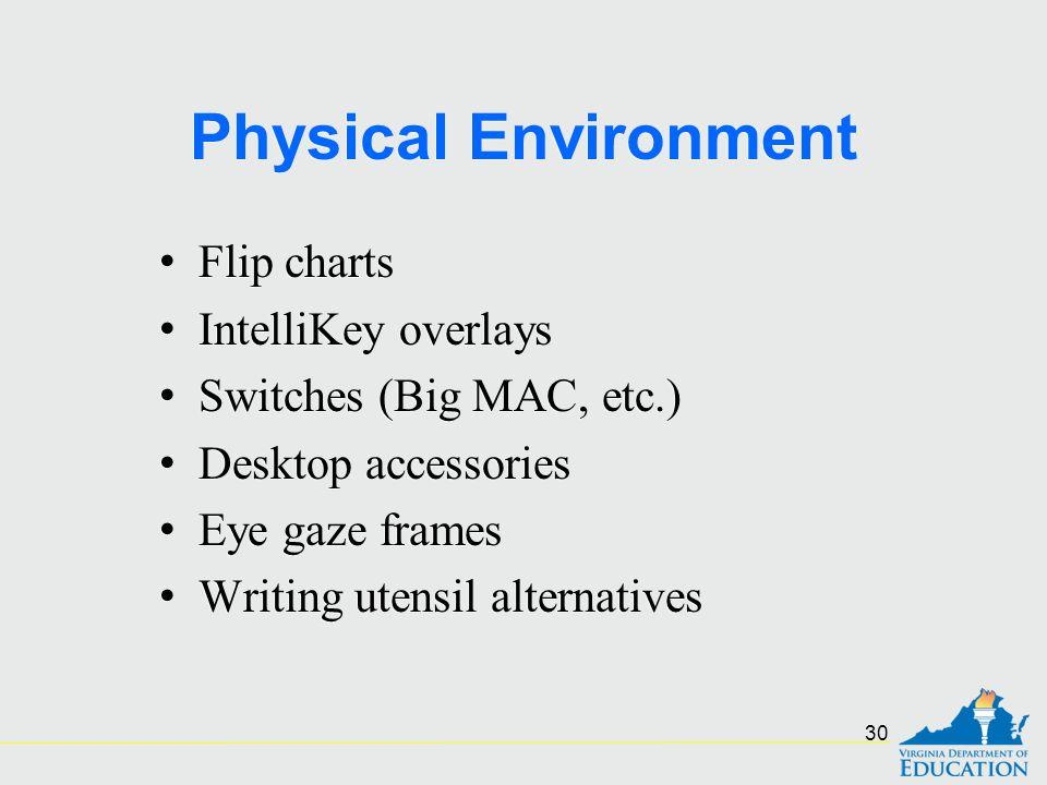 Physical Environment Flip charts IntelliKey overlays