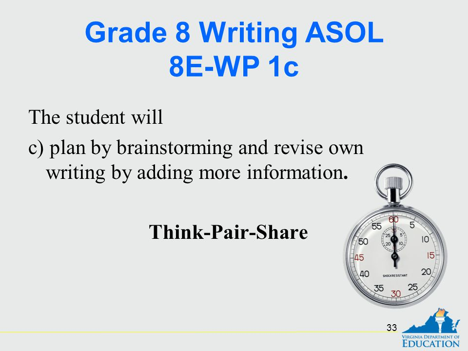 Grade 8 Writing ASOL 8E-WP 1c