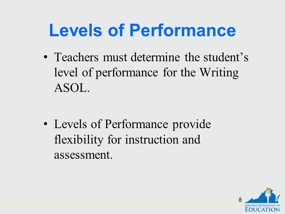 Levels of Performance Teachers must determine the student's level of performance for the Writing ASOL.