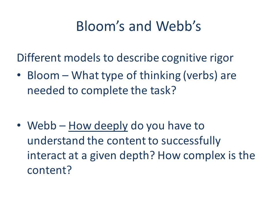 Bloom's and Webb's Different models to describe cognitive rigor