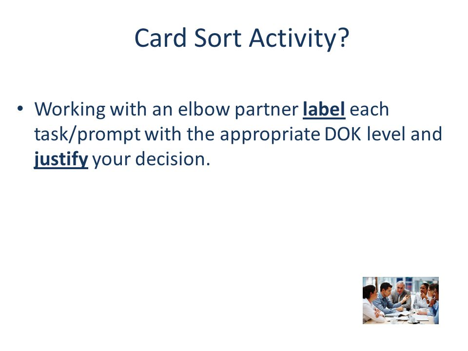 Card Sort Activity.