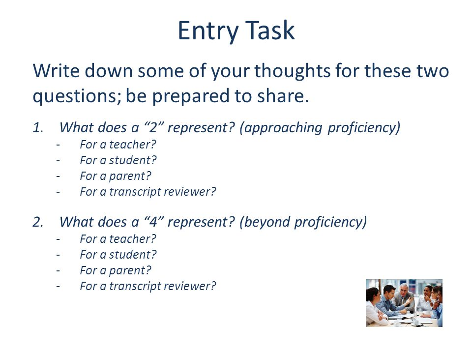 Entry Task Write down some of your thoughts for these two questions; be prepared to share. What does a 2 represent (approaching proficiency)