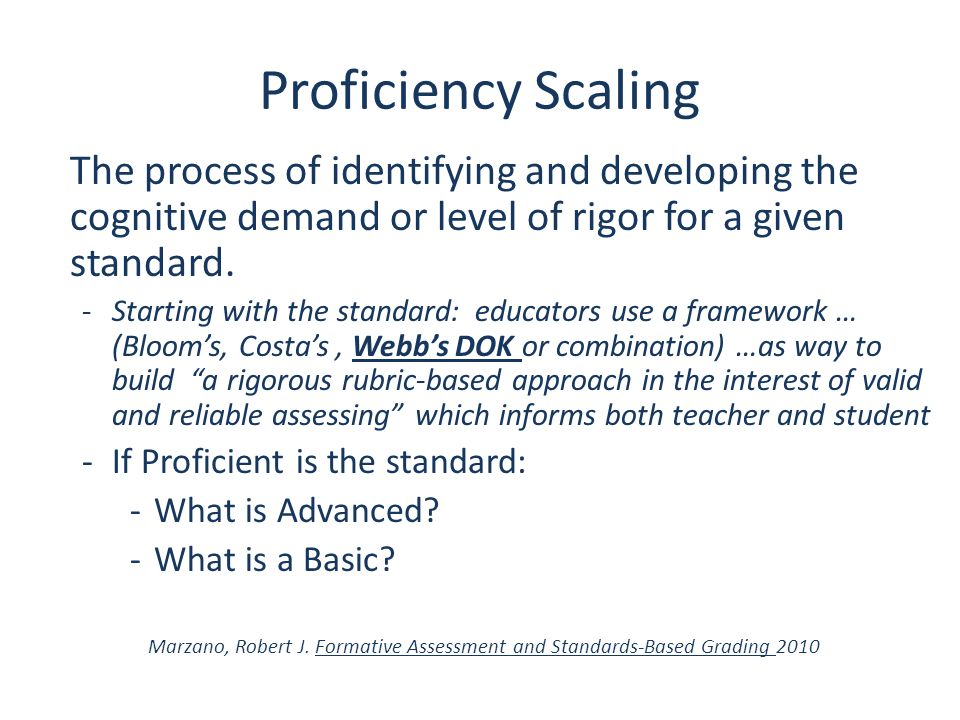 Proficiency Scaling The process of identifying and developing the cognitive demand or level of rigor for a given standard.
