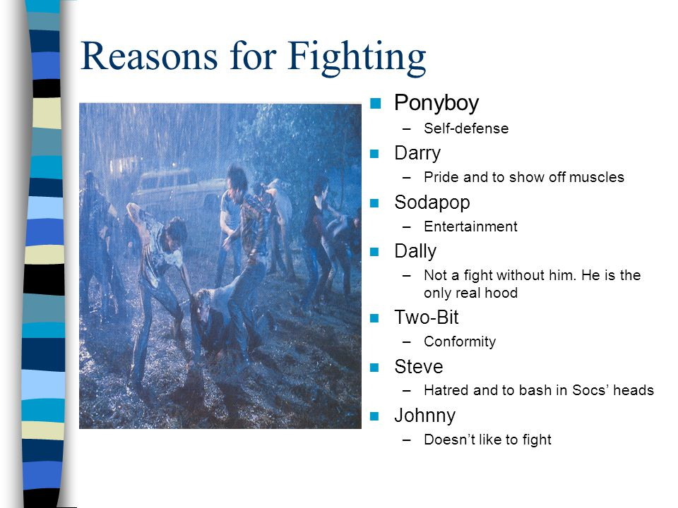 Reasons for Fighting Ponyboy Darry Sodapop Dally Two-Bit Steve Johnny