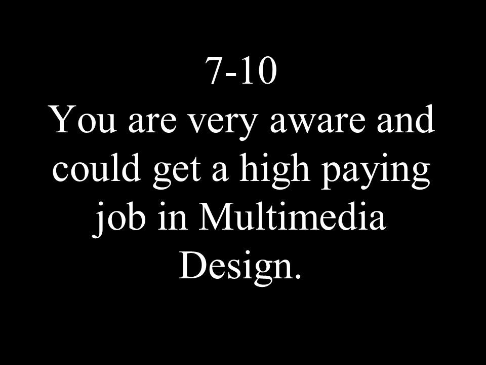 7-10 You are very aware and could get a high paying job in Multimedia Design.