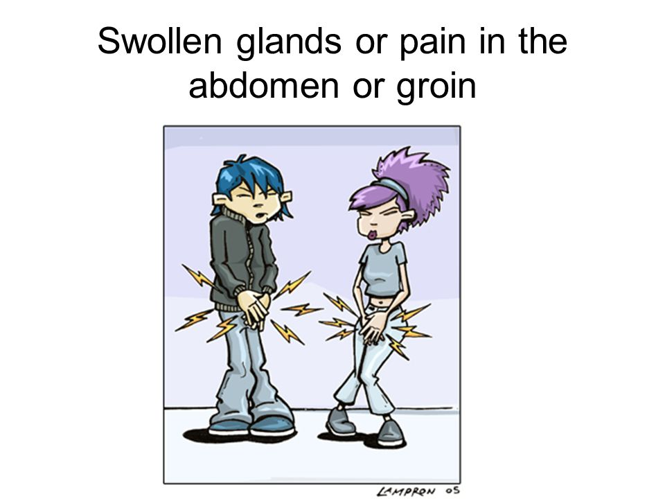 Swollen glands or pain in the abdomen or groin