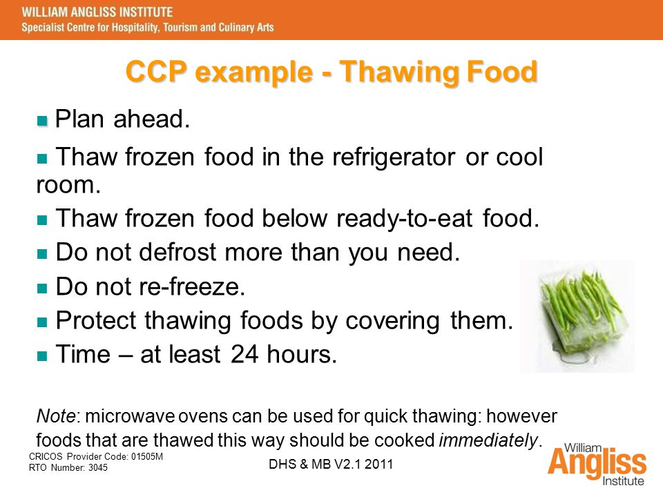 CCP example - Thawing Food