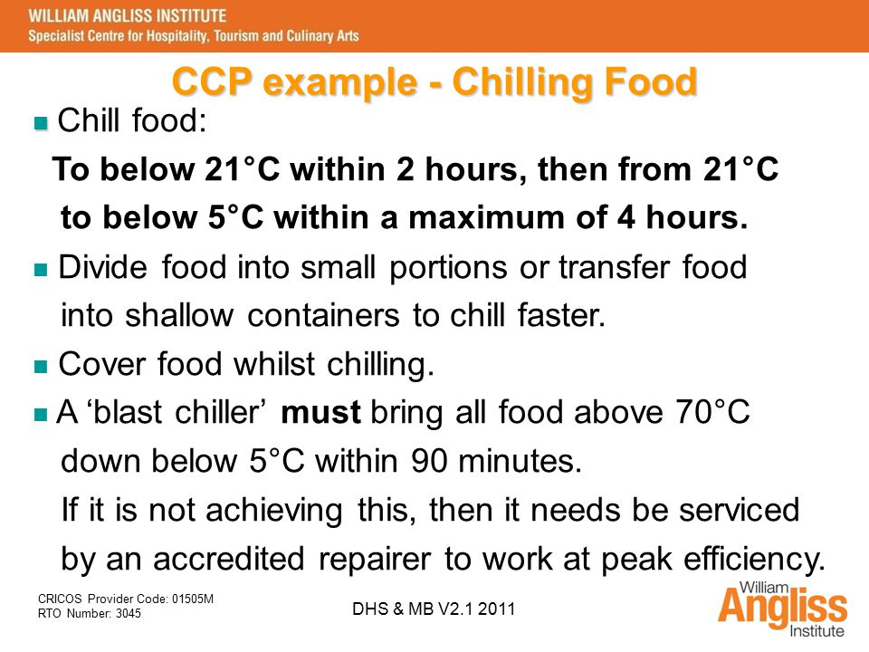 CCP example - Chilling Food