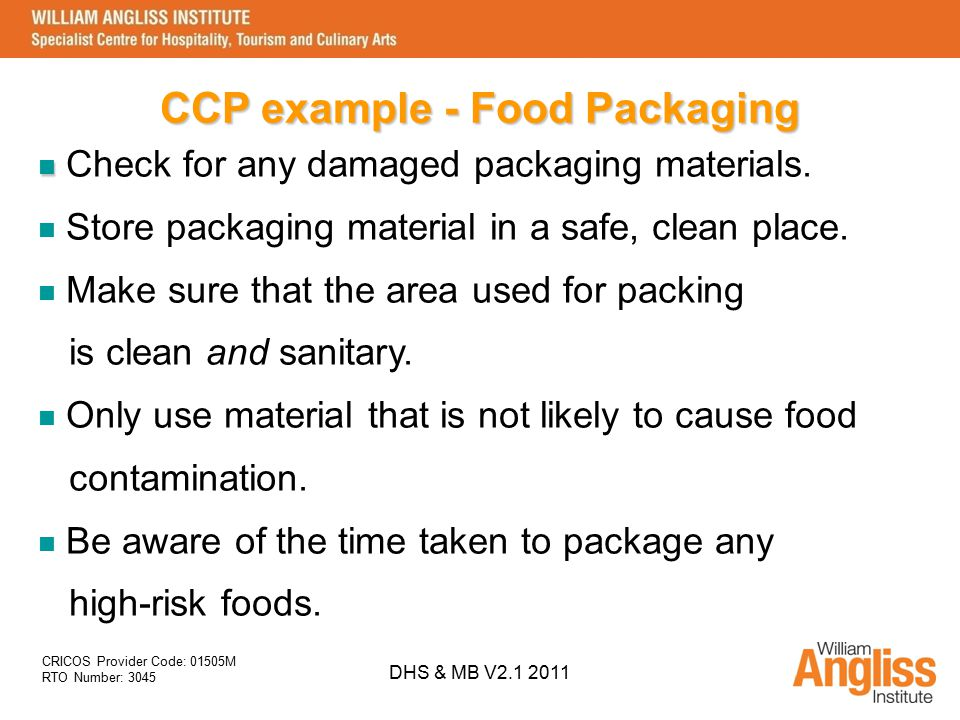 CCP example - Food Packaging