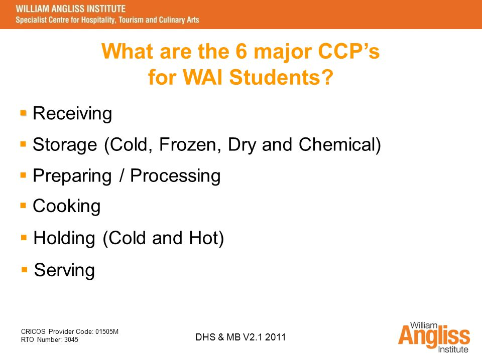 What are the 6 major CCP's