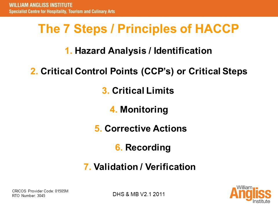 The 7 Steps / Principles of HACCP