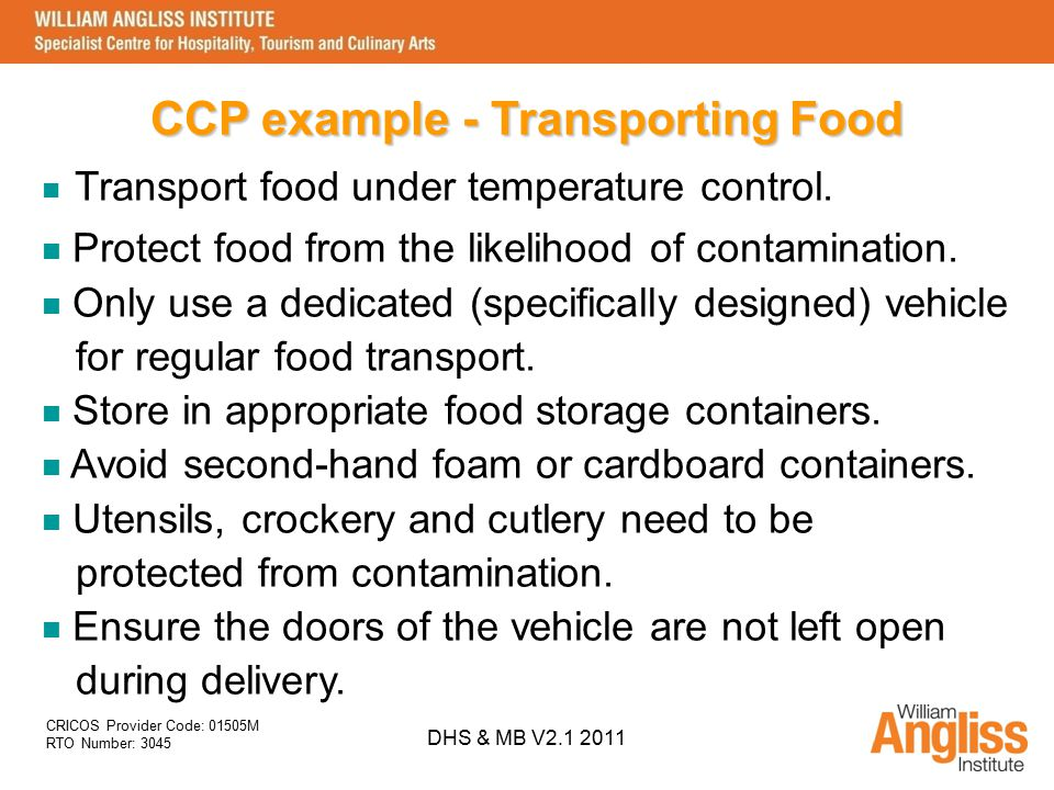 CCP example - Transporting Food