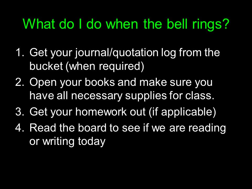 What do I do when the bell rings
