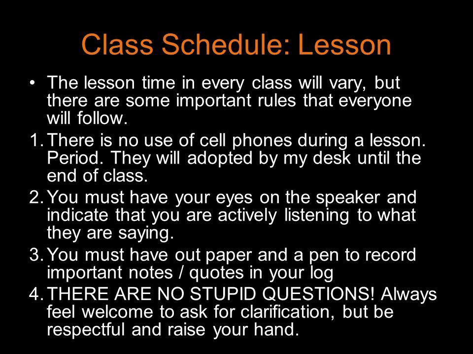 Class Schedule: Lesson