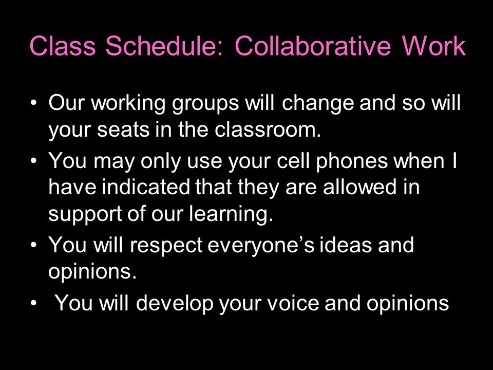 Class Schedule: Collaborative Work