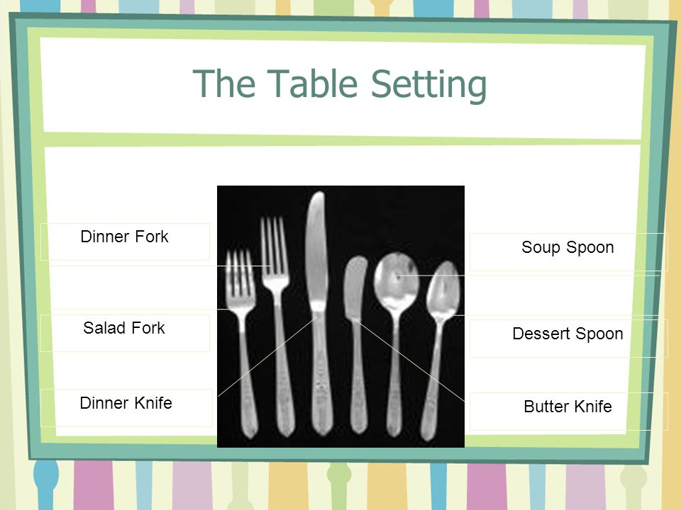 The Table Setting Dinner Fork Soup Spoon Salad Fork Dessert Spoon